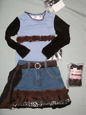 NWT $82 Greggy Girl DOWNTOWN BLUE & BROWN 2 2T 3 3T Set Skirt Outfit Leopard