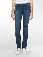 calvin klein womens ultimate skinny ripped ankle jeans
