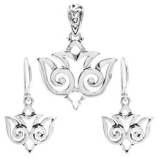 925 Sterling Silver Classy Flying Bird Pendant and Earring Set