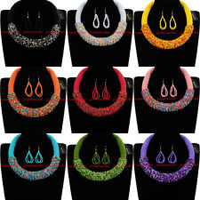 Fashion Jewelry Chain Resin Seed Beads Chunky Choker Statement Bib Necklace New