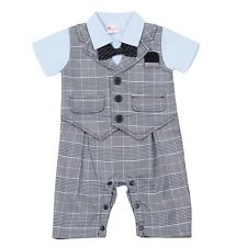 1Pc Baby Boys Kids Newborn Romper Wedding Formal Outfit Clothing Short Sleeves