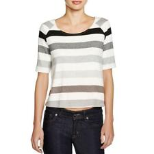 Three Dots 6206 Womens Knit Striped Cropped Crop Top Shirt BHFO