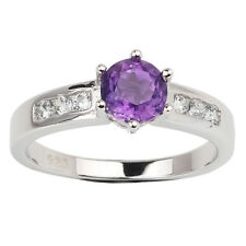 6mm Purple Amethyst Ring 925 Sterling Silver Band for Women February Birthstone