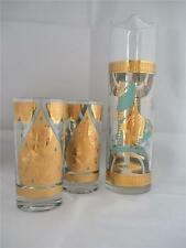 FRED PRESS MID-CENTURY COCKTAIL PITCHER AND 2 GLASSES - THAI DANCE & HORSE  GOLD