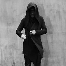 chic Mens Gothic woolen blend Poncho jacket hooded trench coat jacket outwear @