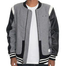 Crooks & Castles The Challenger Varsity Jacket in Heather Gray & Black NWT CRKS