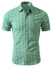 Men Classic Point Collar Green Plaid Short Sleeves Button Down Shirt