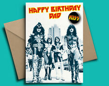 KISS Classic Rock Heavy Metal Birthday Personalised Card With Badge Option