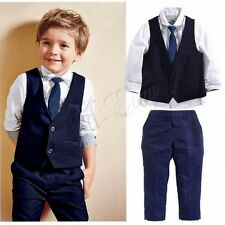 Toddler Kids Baby Boys Suits Gentleman Coat Shirt Pants Vest Clothes Outfits Set