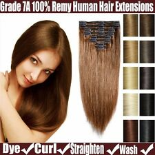 Women's Clip in 100% Remy Real Human Hair Extensions Straight 8Pcs 70-220G YP5