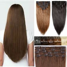 "Real Cheap 16""18""22"" Clip In Remy Human Hair Extensions Full Head AU Stock YP6"