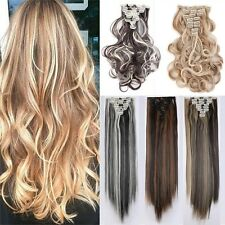 UK Sale Double Weft Clip in Full Head Hair Extensions Real Thick Long Wavy Curly