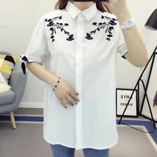 Womens Floral Frog Embroidered Lace Mix Collar Short Sleeve Blouse Tops Shirt
