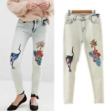 Women Sequins Washed Denim High Waist Skinny Fit Jeans