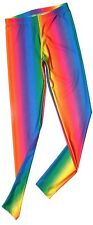 IN STOCK RAINBOW GRADIENT DELUXE TRICOT SPANDEX NYLON LEGGINGS - Made in USA.