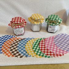 JAM jar covers fabric  SIZE 1.5oz/ tiptree  10 colours FREE bands x 50
