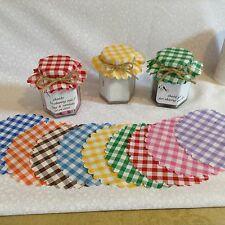 JAM jar covers fabric  SIZE  11cm 10 colours FREE bands x 100