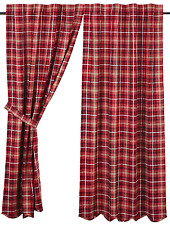 Braxton Plaid Panels Pair in Apple Red, Natural and Ebony, Choice of Two Sizes