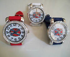 Geneva  Silver Finish Rebel Women's Rhinestone-accented Silicone Watches