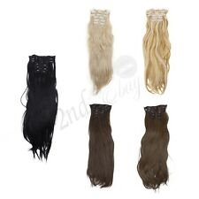 6Pcs Women's Long Straight Full Head Clip in Hair Extensions Hairpiece 58cm