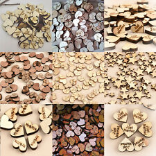 100PCS Charm Rustic Wooden Wood Love Heart Wedding Table Scatter Decor Crafts