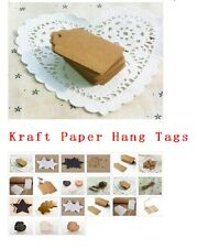100pcs BLANK  Kraft Paper Hang Tags w/String Punch Label Price Gift Cards TB