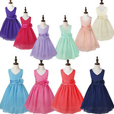 Girl Chiffon Flower Birthday Pageant Wedding Party Formal Princess Dress SZ 2-14
