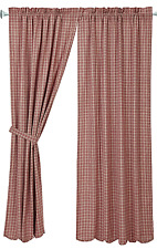 Independence Plaid Panels Pair in Red and Tan, Scalloped Hem, Choice of 2 Sizes