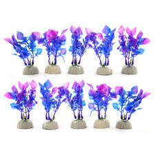 10pcs Plastic Flower Grass Plants for Aquarium Fish Tank Landscape w Base