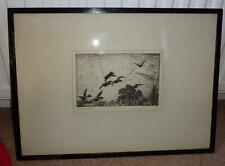 FRANK W BENSON  signed original etching over the tree tops