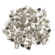 100x Ribbon Pinch Crimp Cord Ends Ribbon Fastener for Jewelry Finding Craft