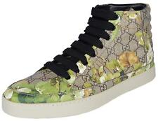 NEW Gucci Men's 407342 GG BLOOMS Coated Canvas Coda High Top Sneakers Shoes