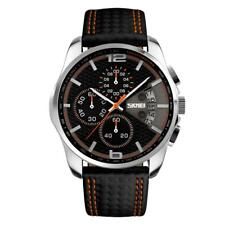 Men Watch Stainless Steel Genuine Leather Casual Military Analog Quartz Watch