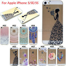 Retro Silicone Clear Skin Soft TPU Slim Back Case Cover For Apple iPhone 5 SE 5S