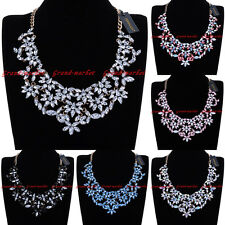 Fashion Jewelry Chain Glass Crystal Resin Collar Statement Pendant Bib Necklace