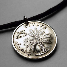 Gambia 25 Bututs coin pendant Gambian OIL PALM TREE necklace West Africa n000738