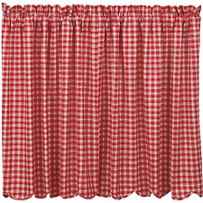 Breckenridge Plaid Tiers Pair in Country Red and Creme, Choice of Two Sizes