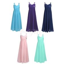 Girls Kids Rhinestones Pleated Chiffon Dress Princess Pageant Wedding Bridesmaid