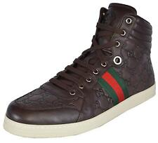 NEW Gucci Men's Leather Red Green Web GG Guccissima Coda High Top Sneakers Shoes