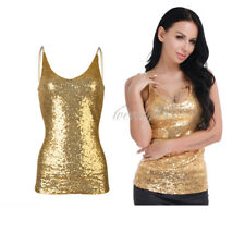 Women Lingerie Deep V Neck Spaghetti Straps Shiny Sequin Slim Vest Tank Crop Top