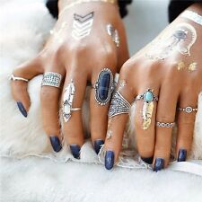 8Pcs Women Boho Vintage Silver/Gold Turquoise Midi Knuckle Band Ring Set Jewelry