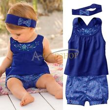 Infant Girls Kids Baby Top+Pants+Headband Dress Up Clothes 3PCs Outfit Set 3-24M