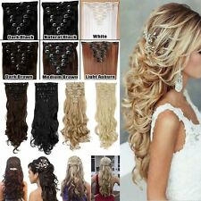100% Real Natural Human Full Head 8Pcs 18 Clips Clip In Hair Extensions Brown Mn