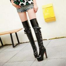 Sexy Womens High Heels Platform Patent Leather Riding Over Knee Thigh Boots #