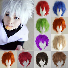 Man Anime Wig Straight Cosplay Costume Party Heat Resistant Hairpiece Red Black