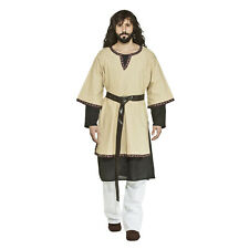 Mens Medieval Renaissance Tunic Biblical Viking Pirate LARP Costume Top Tan