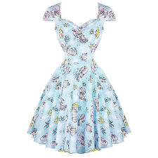 Hell Bunny Coralia Light Blue Mermaid Pinup 1950s Retro Rockabilly Vintage Dress