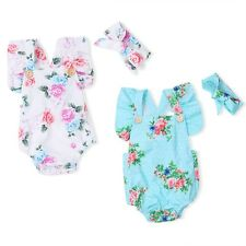 2PCS Newborn Infant Baby Girls Ruffled Outfit Romper Jumpsuit Bodysuit+Headband