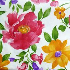 52x70 & 52x90 Oblong~Vinyl Tablecloth~White Floral/Flower/Pink Purple/Yellow~NEW