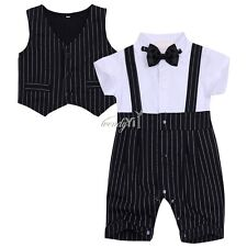 2PCS Baby Boys Short Sleeve Bowtie Striped Gentleman Rompers with Vest Outfit